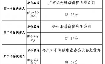 6165金莎总站打印机复印机耗材及配件 重新评审的中标候选人公示