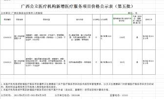 广西新增医疗服务项目价格公示表(第五批)